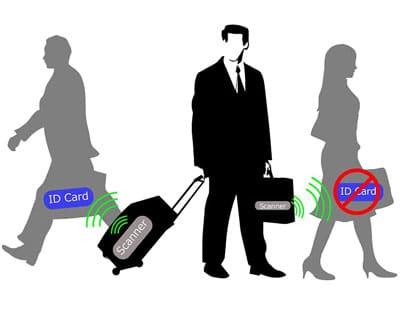 skizze eines mannes, der versucht, daten von rfid-geräten über einen versteckten scanner/leser zu stehlen