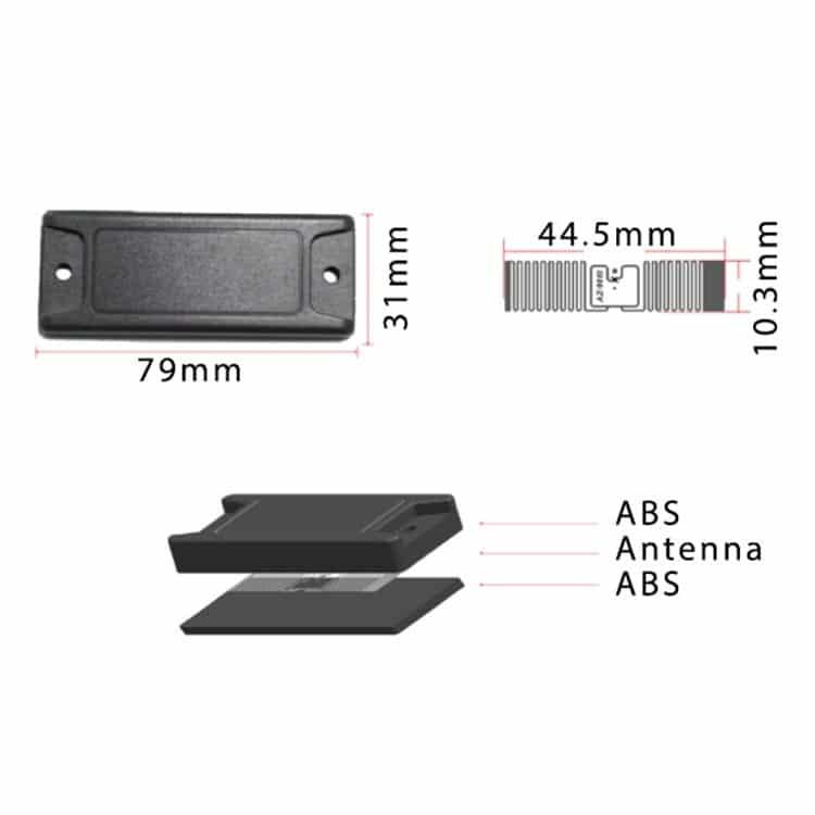 abmessungen der schwarzen abs anti-metall-tags