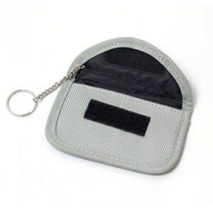 graue rfid-blocking-tasche mit oxford-stoff vorderansicht