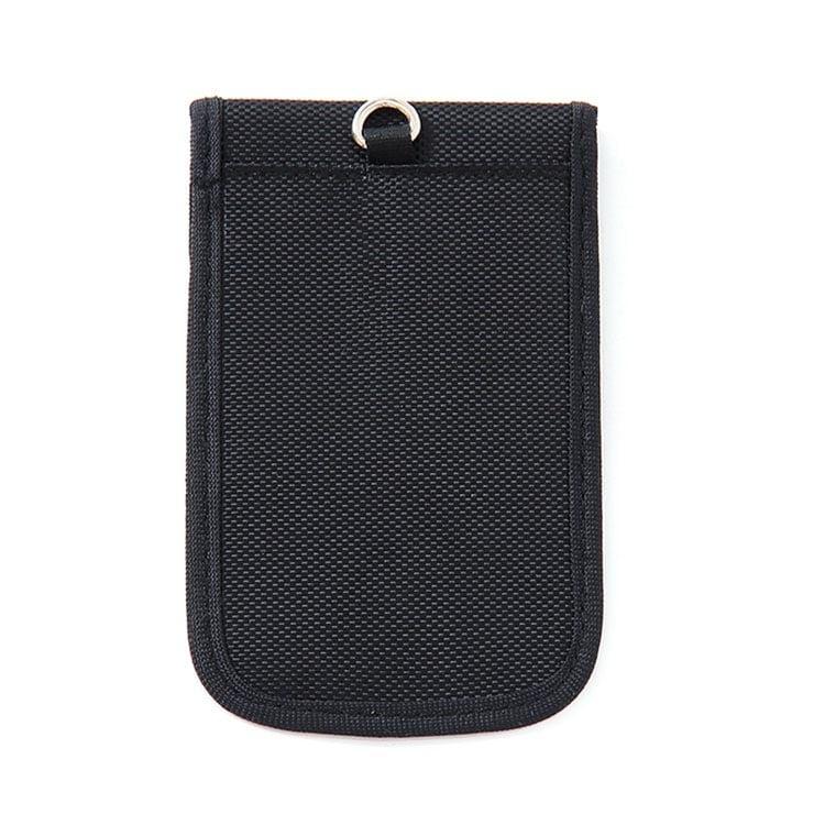 schwarze rfid-schutztasche mit oxford-gewebe rückansicht