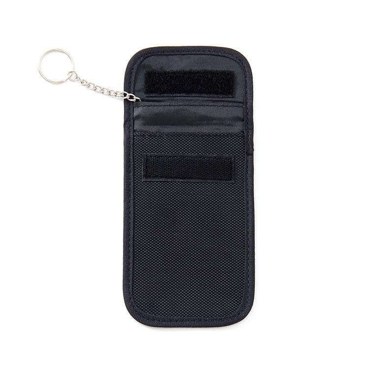 schwarze rfid-blocking-tasche mit oxford-gewebe geöffnete Position Vorderansicht