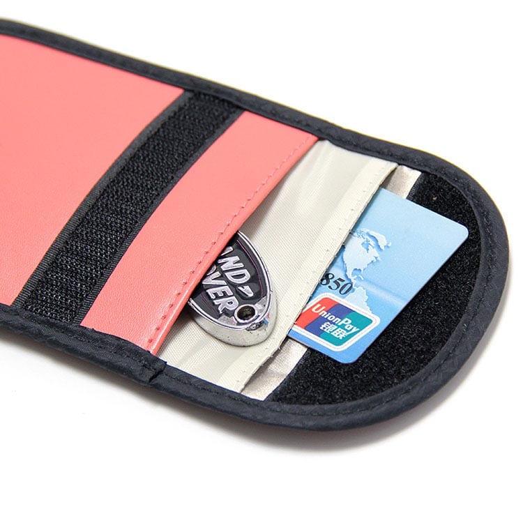rote PU-Leder rfid Schutztasche mit Kreditkarte