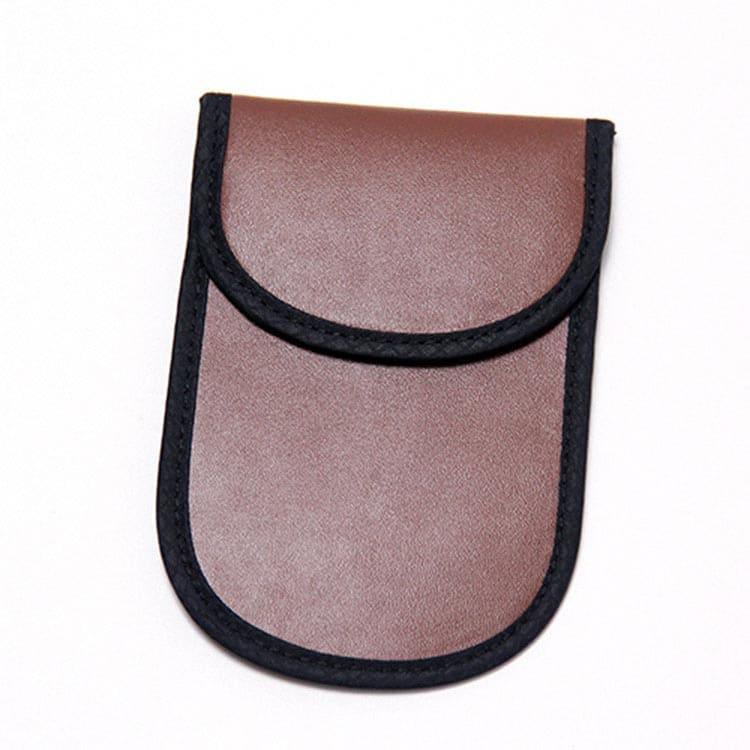 braune PU-Leder rfid blocking Tasche Vorderansicht