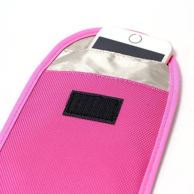 rosa rfid-Schutztasche mit Oxford Stoff inkl. Smartphone innen Vorderansicht