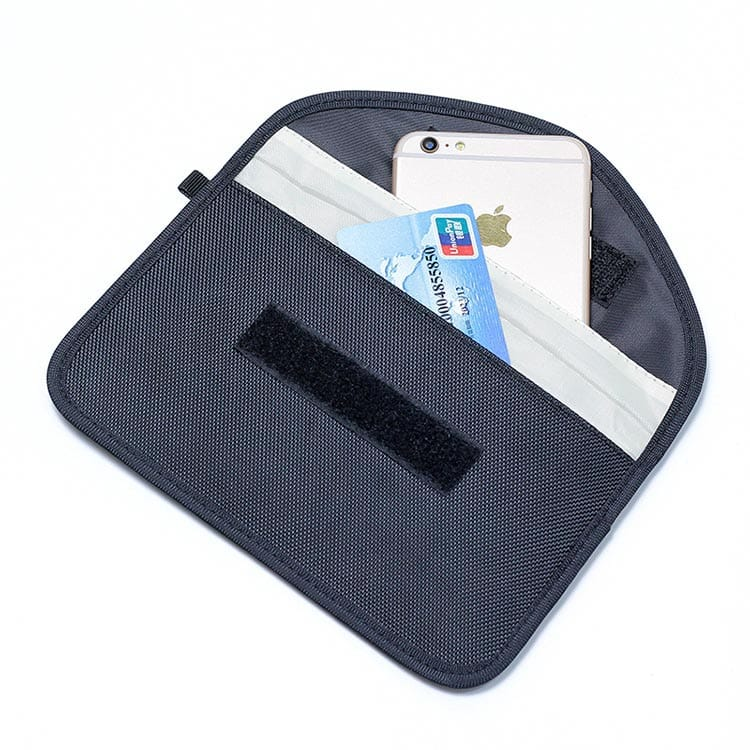 schwarze rfid-blockierende Tasche Vorderansicht