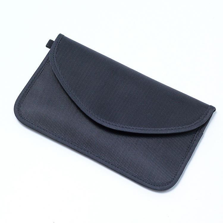 schwarze rfid-blocking-tasche mit oxford-stoff vorderansicht