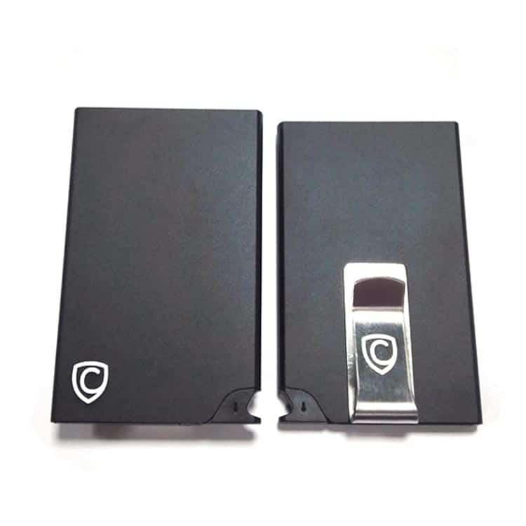 schwarzes rfid-schutz portemonnaie mit pop-up-griff