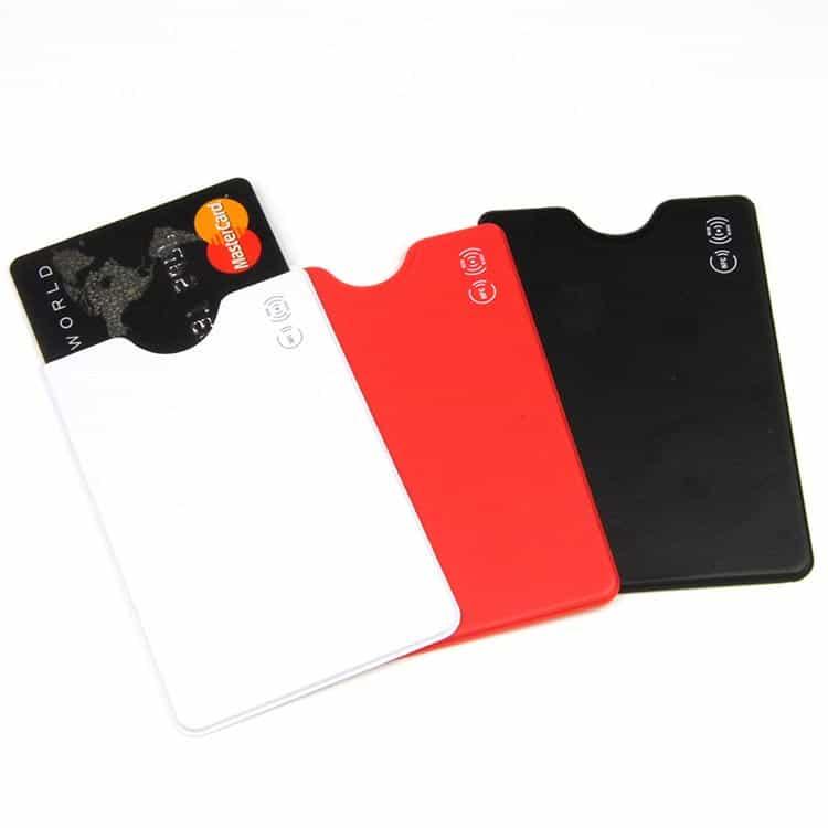 weiße, rote und schwarze rfid-blockierende Hülle mit Logodruck
