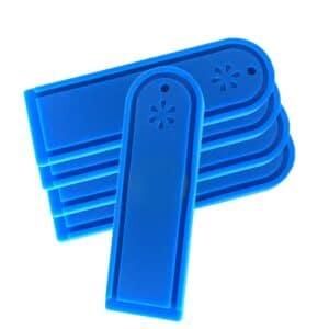 Fünf blaue RFID Wäscherei-Tags für die Waschmaschine