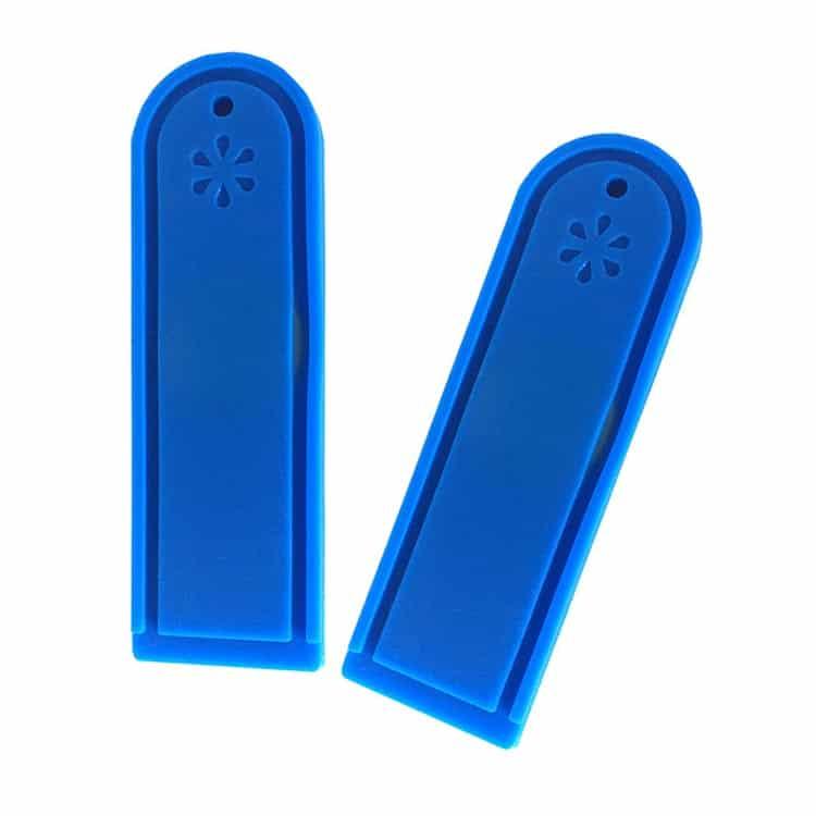 Zwei blaue RFID Wäsche Tags (Frontansicht)