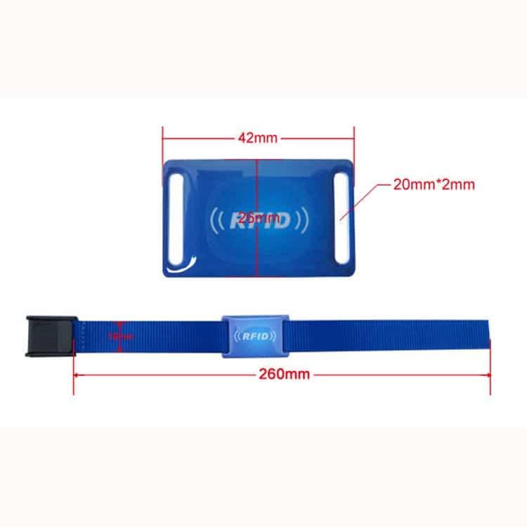 Abmessungen eines blauen RFID-Armbandes