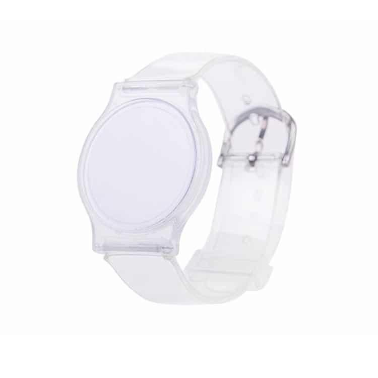 Transparentes Kunststoff RFID-Armband in geschlossener Position