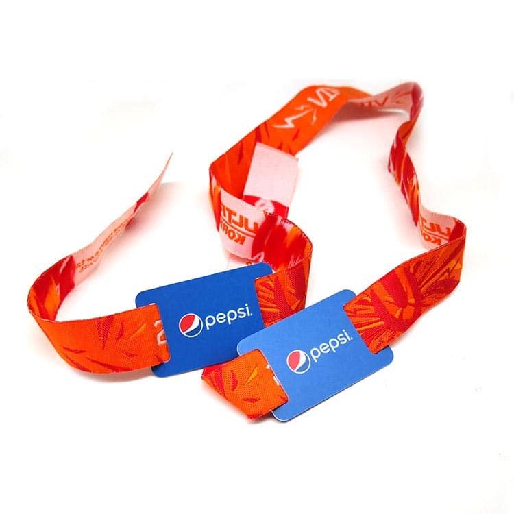 rotes gewebtes RFID-Armband mit Design des Kunden Pepsi