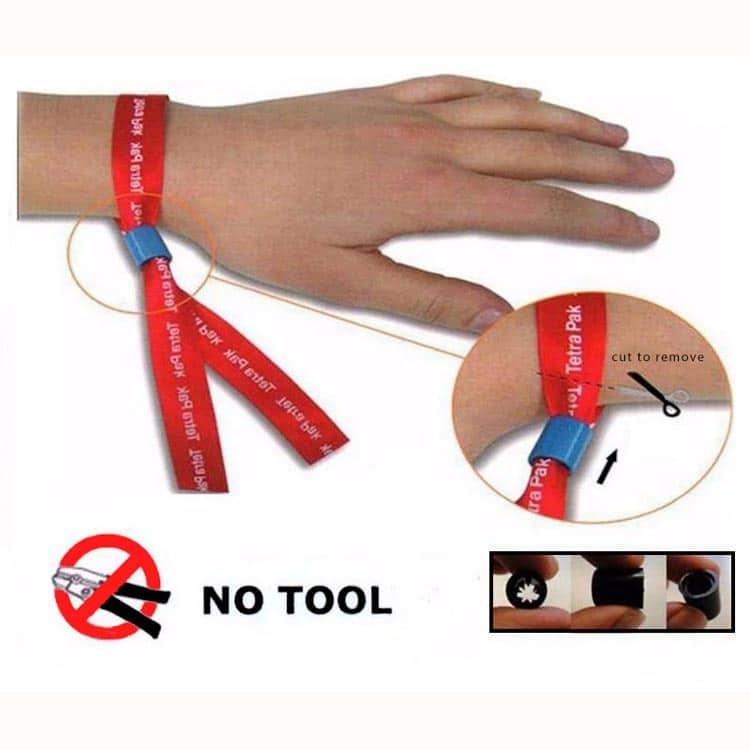 Verschlussmechanismus eines RFID-Armbandes aus Stoff