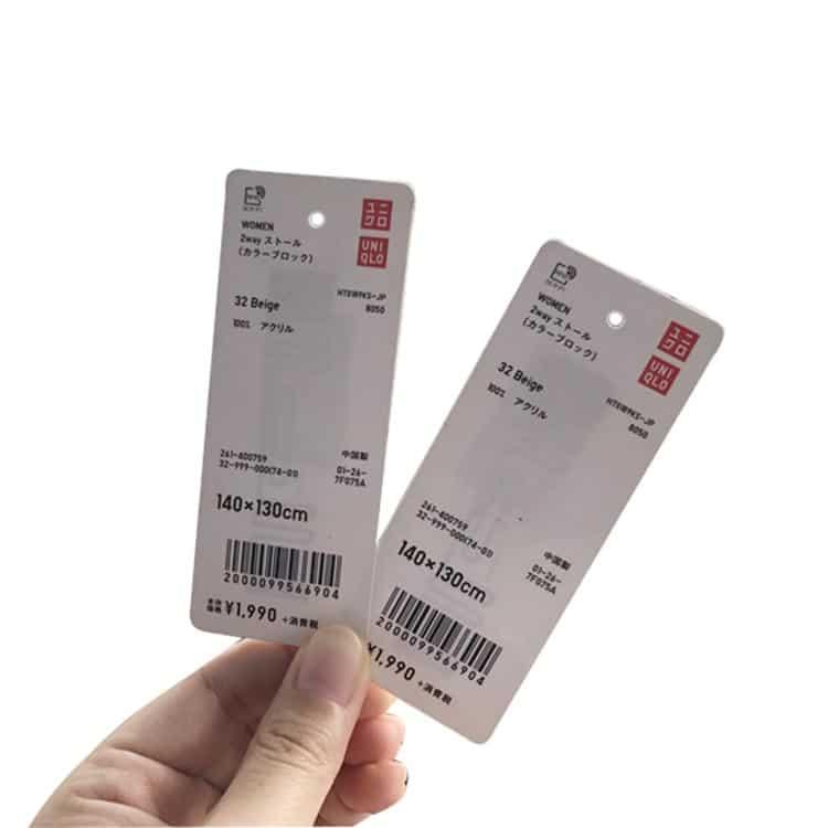 rfid-Papieretiketten von uniqlo mit durchscheinendem rfid chip