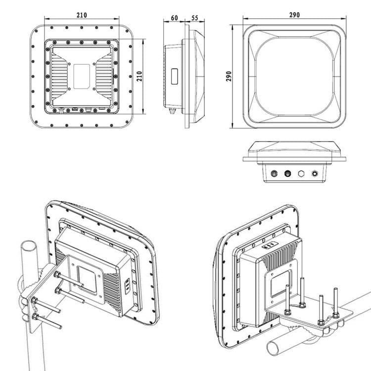 RFID Lesegeraet Dimensionen