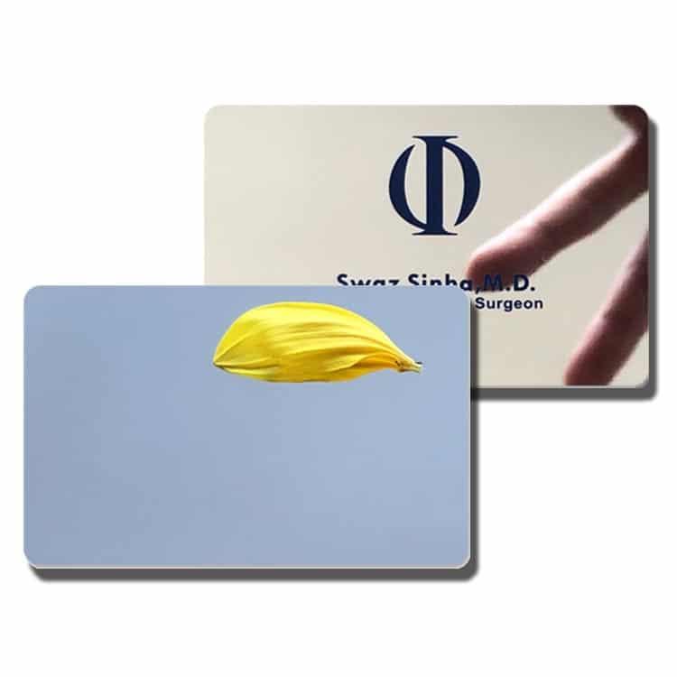 Beispiele für RFID Spiegel-Chipkarten mit zusätzlichem Druck auf der Spiegeloberfläche