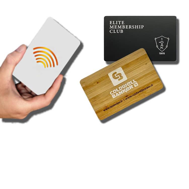 kontaktlose rfid/nfc-chipkarten aus kunststoff, holz und metall