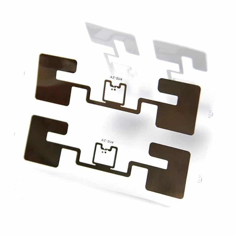 Ultrahochfrequenz-Antenne und rfid-Chips auf transparentem Substrat