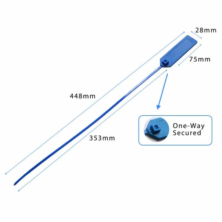 Abmessungen eines blauen RFID-Kabelbinders
