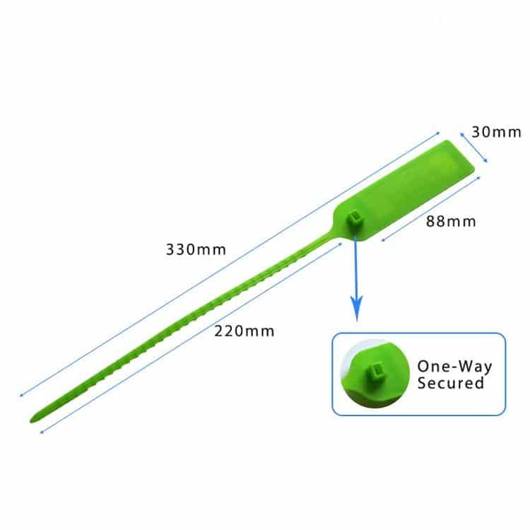 Abmessungen des grünen RFID-Kabelbinders