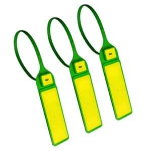 drei RFID Kabelbinder in grün/gelb in geschlossener Position