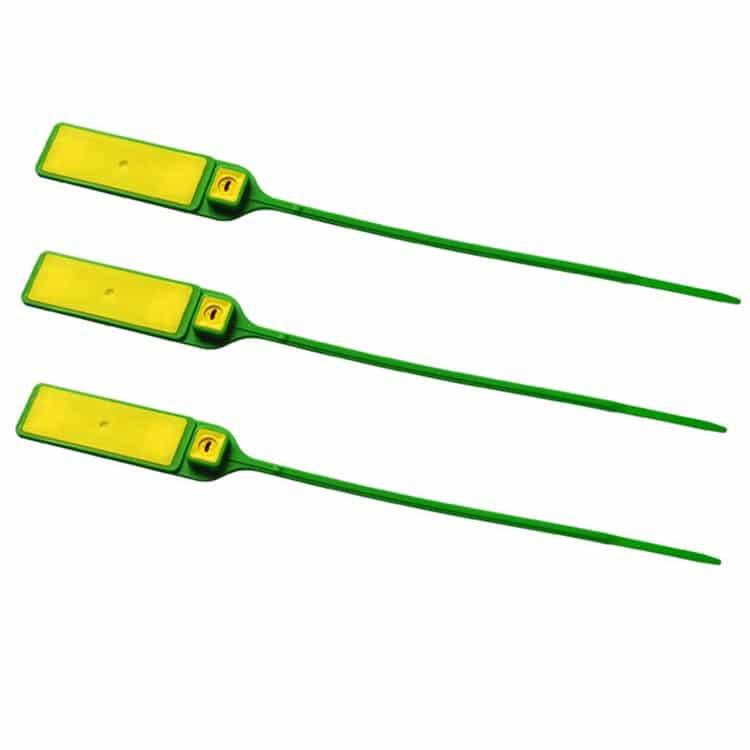 drei RFID-Kabelbinder in grün/gelb aus der Seitenansicht