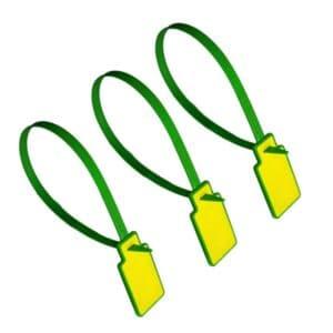 drei grün/gelbe RFID-Kabelbinder in geschlossener Position