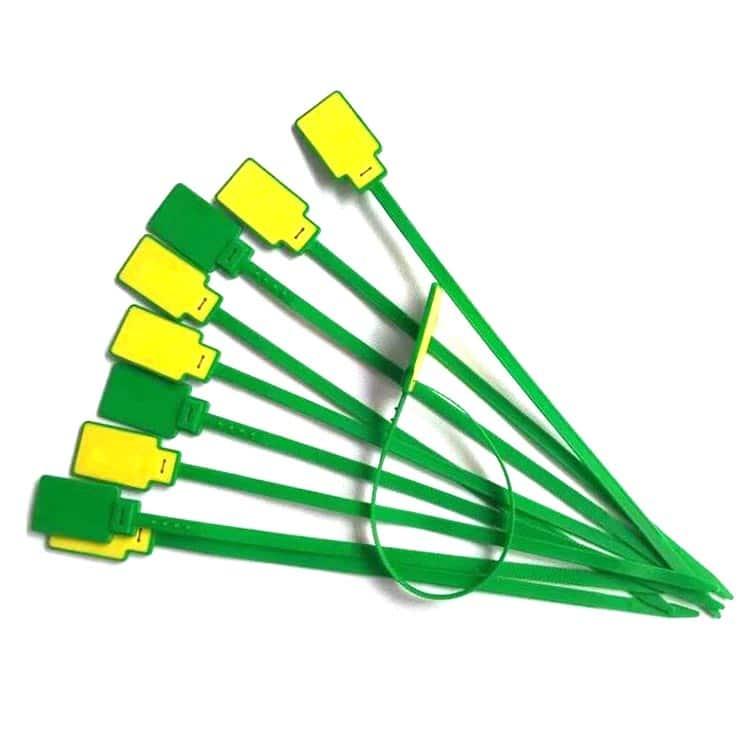 mehrere grün/gelbe RFID-Kabelbinder