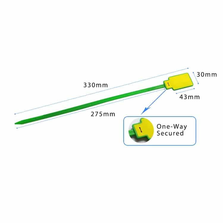 Abmessungen des grün/gelben RFID-Kabelbinders