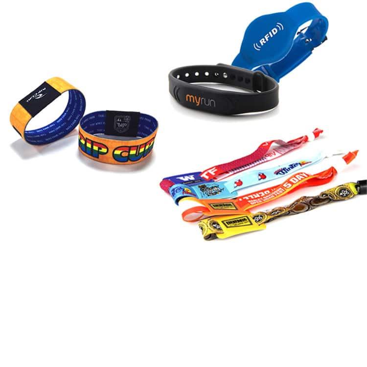 Übersicht über verschiedene rfid-Armbänder in vielen Größen, Formen und Farben